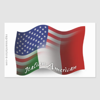 Italian-American Waving Flag Rectangular Sticker