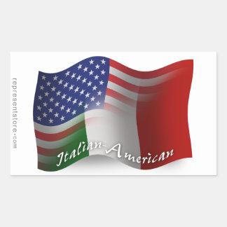 Italian-American Waving Flag Rectangular Sticker