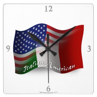 Italian-American Waving Flag Square Wall Clock
