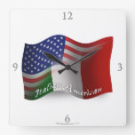 Italian-American Waving Flag Square Wallclock
