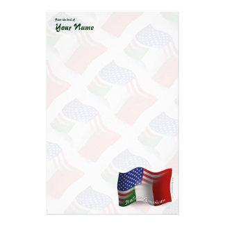 Italian-American Waving Flag Stationery Design