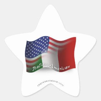 Italian-American Waving Flag Sticker