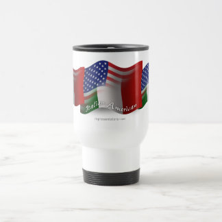 Italian-American Waving Flag Travel Mug