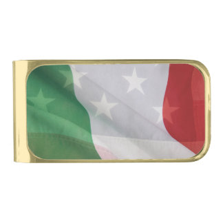Italian and USA flags Gold Finish Money Clip