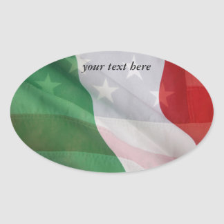 Italian and USA flags Oval Sticker