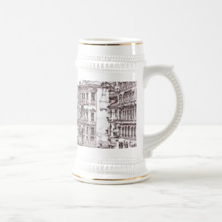 Italian architecture drawings 18 oz beer stein