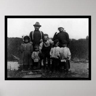 Italian Arnao Family of Berry Pickers 1910 Poster