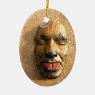 Italian Art Face Photo Sticking Out Tongue Ceramic Ornament