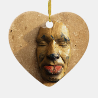 Italian Art Face Photo Sticking Out Tongue Double-Sided Heart Ceramic Christmas Ornament