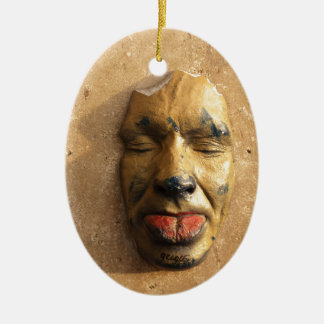 Italian Art Face Photo Sticking Out Tongue Double-Sided Oval Ceramic Christmas Ornament