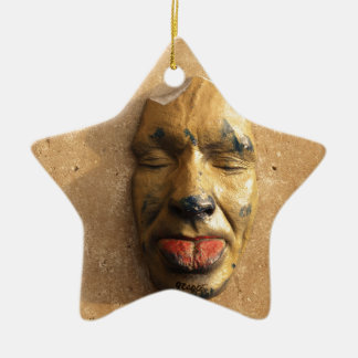 Italian Art Face Photo Sticking Out Tongue Double-Sided Star Ceramic Christmas Ornament