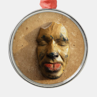 Italian Art Face Photo Sticking Out Tongue Round Metal Christmas Ornament