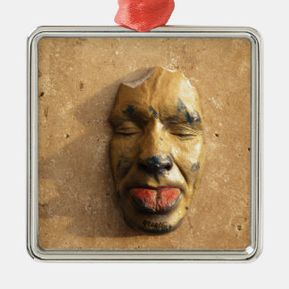 Italian Art Face Photo Sticking Out Tongue Square Metal Christmas Ornament