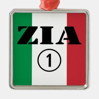 Italian Aunts : Zia Numero Uno Square Metal Christmas Ornament