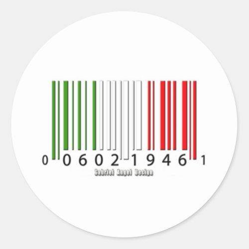 Italian Barcode Flag Classic Round Sticker