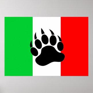 Italian Bear Pride Flag Poster