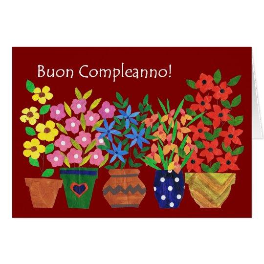 Italian Birthday Card Flower Power – Birthday Greetings in Italian
