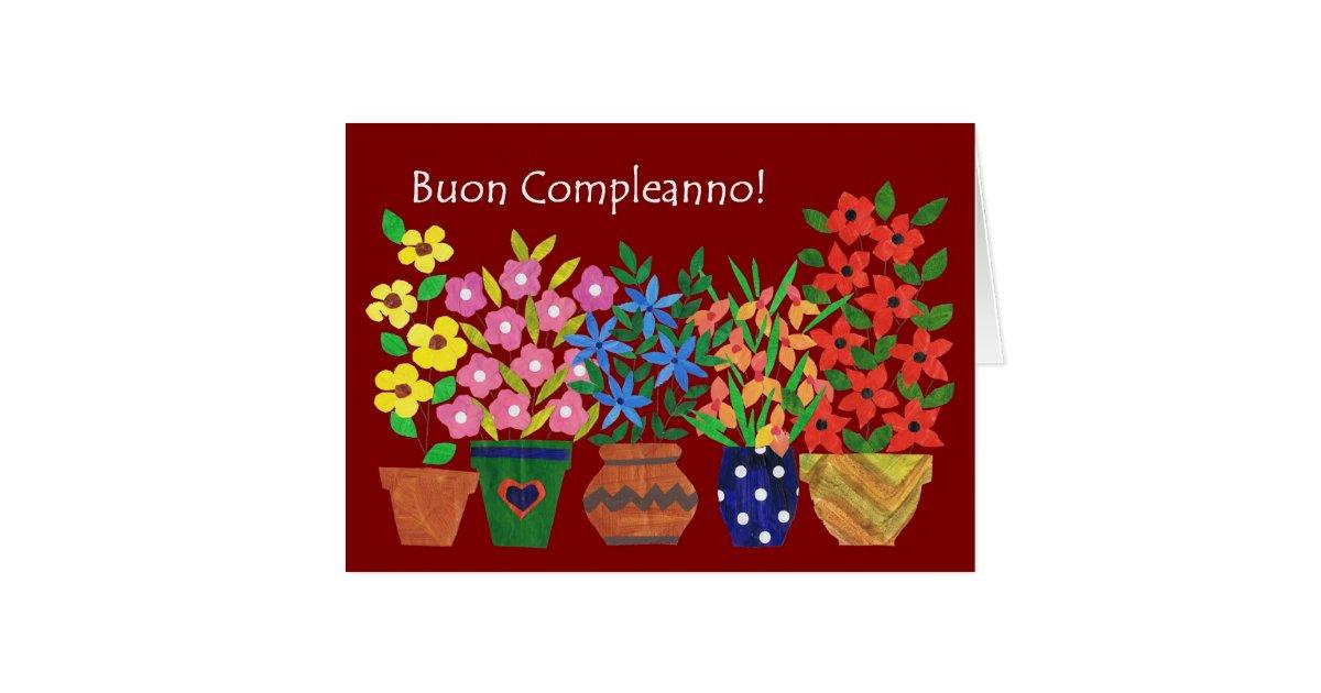 italian birthday card  flower power  zazzle, Birthday card