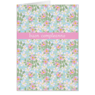 Italian Birthday Card: Pink Dogroses on Blue Greeting Cards