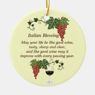 Italian Blessing Double-Sided Ceramic Round Christmas Ornament