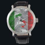"Italian boot watch<br><div class=""desc"">Italian boot on waving flag,  patriotic Italian pattern watch</div>"