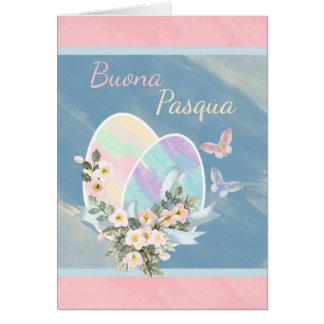 Italian - Buona Pasqua - Watercolour Easter Eggs Card