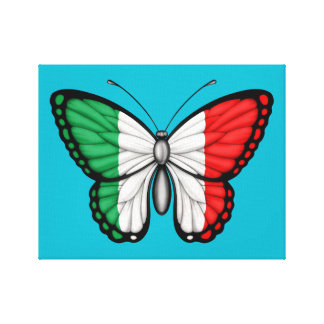 Italian Butterfly Flag Stretched Canvas Print
