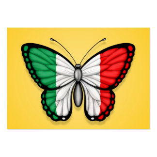 Italian Butterfly Flag on Yellow Business Card Template