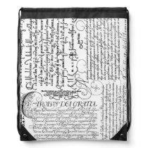 Italian Calligraphy Vintage Art Drawstring Backpac Drawstring Backpack