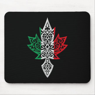 Italian Canadian Maple Leaf - black Mouse Pad