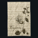 "Italian Capers Floral Kitchen Towels<br><div class=""desc"">Italian Capers Floral American Mojo Kitchen Towels.  This tiny bud of a flower has been used in Mediterranean cooking for many centuries.  In Italian cooking,  it is most widely used in Sicilian or southern Italian cooking..</div>"