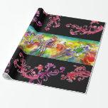 ITALIAN CARNIVAL DANCE,  RED PURPLE  FLORAL SWIRLS WRAPPING PAPER