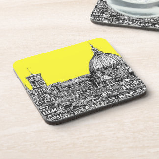 Italian cathedral in yellow beverage coaster