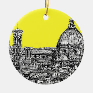 Italian cathedral in yellow ceramic ornament