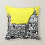 Italian cathedral in yellow throw pillows