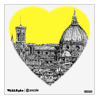 Italian cathedral in yellow wall sticker