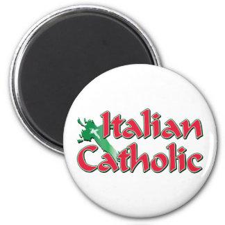 Italian Catholic Cross 2 Inch Round Magnet