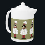 """Italian Chef #1 Teapot<br><div class=""""desc"""">This design features a italian chef. Great for serving guests when they visit. If you are a collector of chef&#39;s decor than this is for you. It&#39;s really hard to find chef&#39;s decor these days. The BACKGROUND can be changed to your desire color. Check out my store for more chef&#39;s...</div>"""
