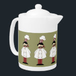 "Italian Chef #1 Teapot<br><div class=""desc"">This design features a italian chef. Great for serving guests when they visit. If you are a collector of chef&#39;s decor than this is for you. It&#39;s really hard to find chef&#39;s decor these days. The BACKGROUND can be changed to your desire color. Check out my store for more chef&#39;s...</div>"