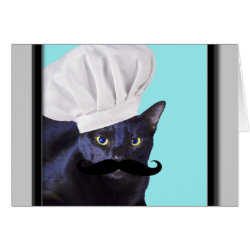 Greeting Card with Italian Chef Cat with Mustache design