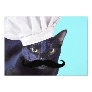 Italian Chef, Black Cat 5x7 Paper Invitation Card