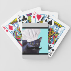 Italian Chef Cat with Mustache Playing Cards