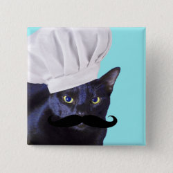 Italian Chef Cat with Mustache Square Button