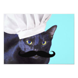 5' x 7' Invitation / Flat Card with Italian Chef Cat with Mustache design
