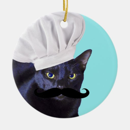 Italian Chef, Black Cat Christmas Ornament