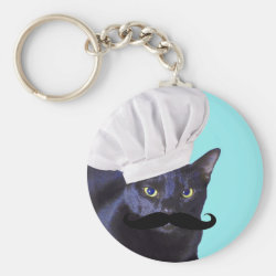 Basic Button Keychain with Italian Chef Cat with Mustache design