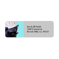Return Label with Italian Chef Cat with Mustache design