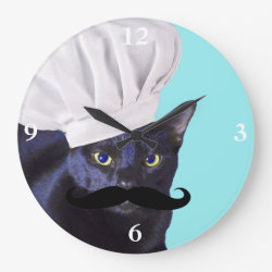Large Round Wall Clock with Italian Chef Cat with Mustache design