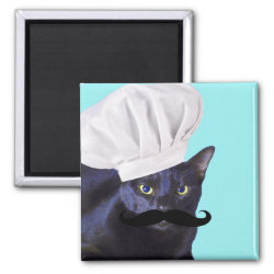 Square Magnet with Italian Chef Cat with Mustache design