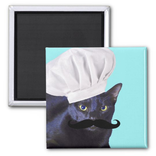 Italian Chef, Black Cat Magnet
